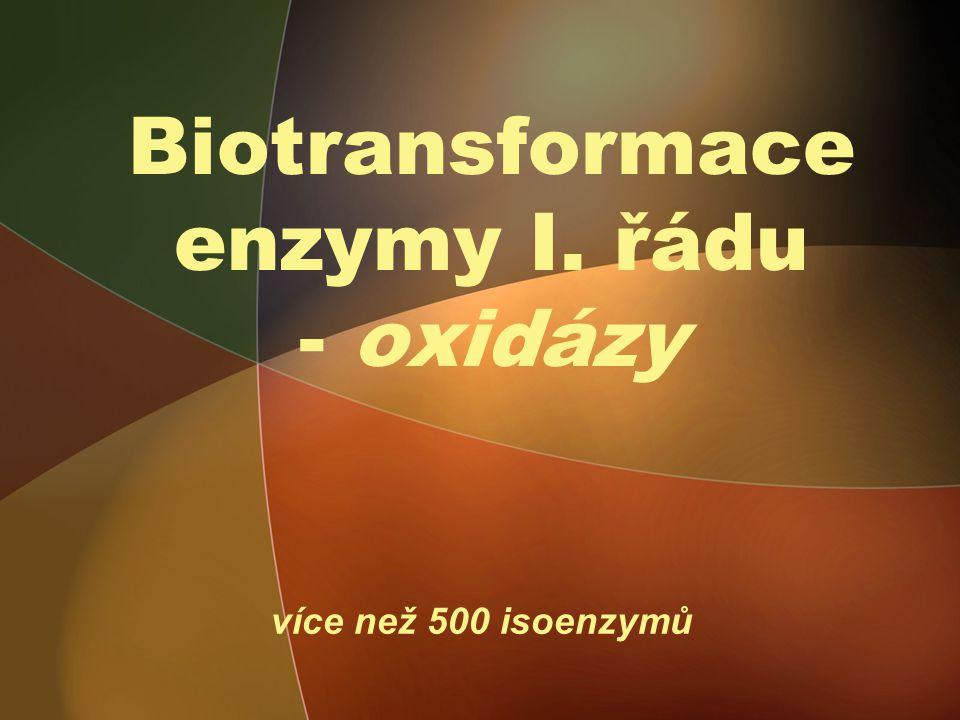 Biotransformace enzymy I. řádu - oxidázy více než 500 isoenzymů