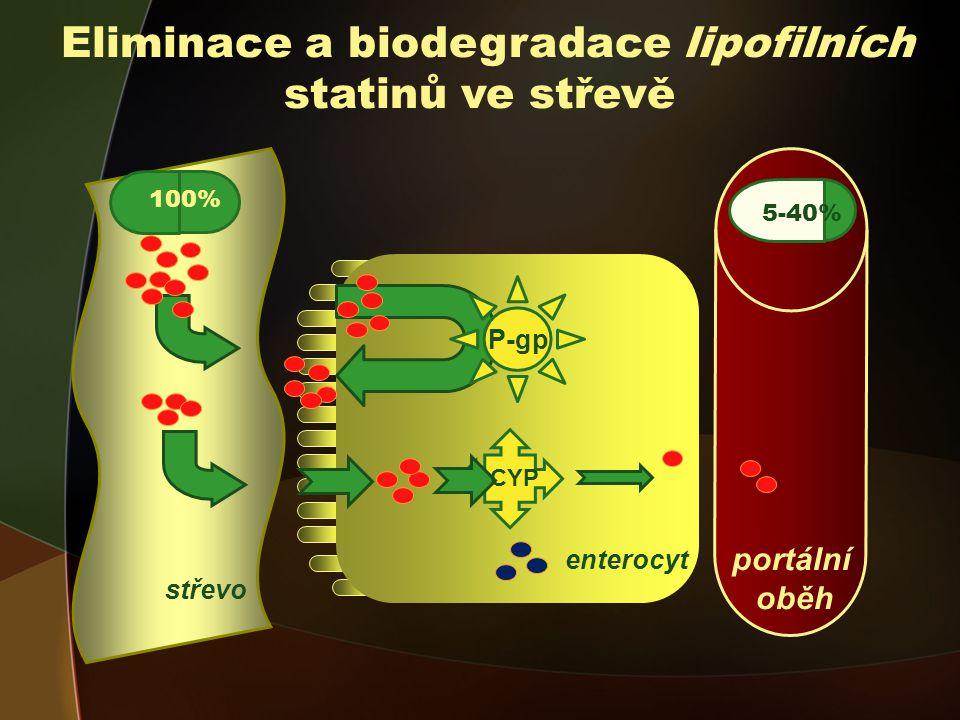 portální oběh Eliminace a biodegradace lipofilních statinů ve střevě 5-40% P-gp CYP 100% 5-40% enterocyt střevo
