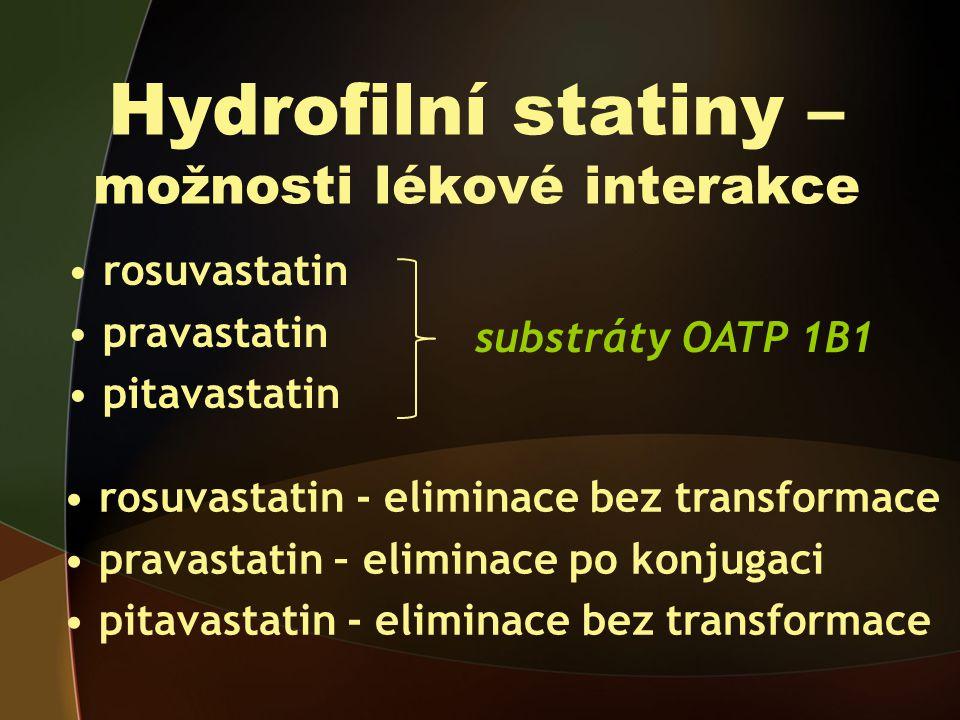 Hydrofilní statiny – možnosti lékové interakce rosuvastatin pravastatin pitavastatin substráty OATP 1B1 rosuvastatin - eliminace bez transformace pravastatin – eliminace po konjugaci pitavastatin - eliminace bez transformace