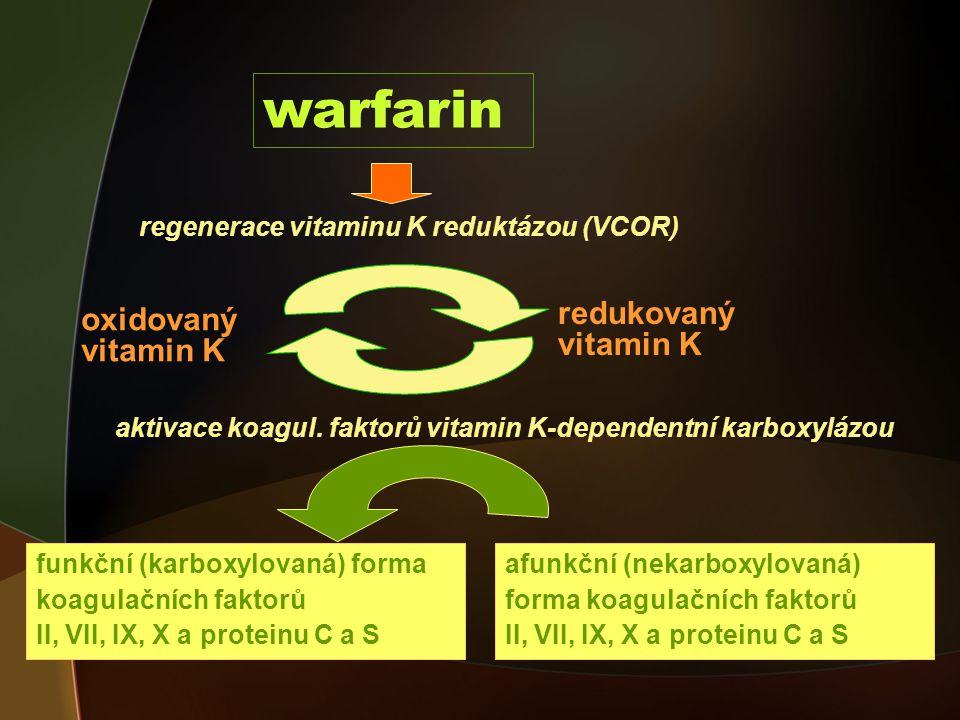 warfarin oxidovaný vitamin K redukovaný vitamin K funkční (karboxylovaná) forma koagulačních faktorů II, VII, IX, X a proteinu C a S regenerace vitaminu K reduktázou (VCOR) aktivace koagul.