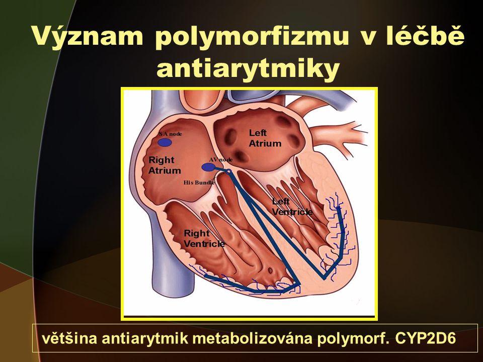 Význam polymorfizmu v léčbě antiarytmiky většina antiarytmik metabolizována polymorf. CYP2D6