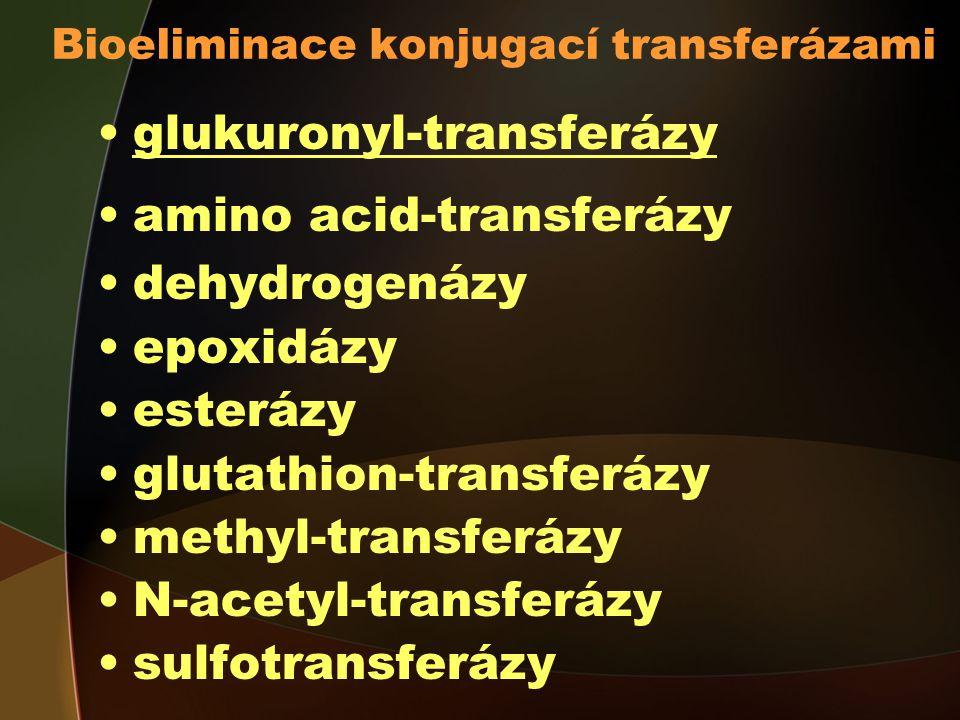 Bioeliminace konjugací transferázami glukuronyl-transferázy amino acid-transferázy dehydrogenázy epoxidázy esterázy glutathion-transferázy methyl-transferázy N-acetyl-transferázy sulfotransferázy