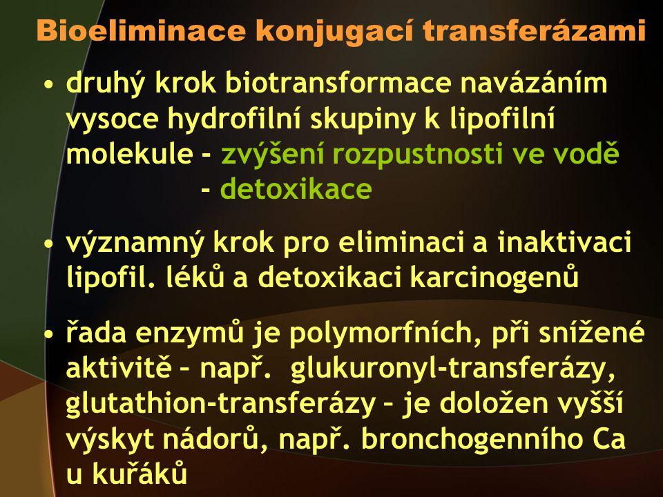 Bioeliminace konjugací transferázami druhý krok biotransformace navázáním vysoce hydrofilní skupiny k lipofilní molekule - zvýšení rozpustnosti ve vodě - detoxikace významný krok pro eliminaci a inaktivaci lipofil.