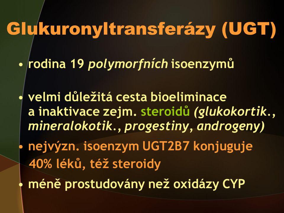 Glukuronyltransferázy (UGT) rodina 19 polymorfních isoenzymů velmi důležitá cesta bioeliminace a inaktivace zejm.