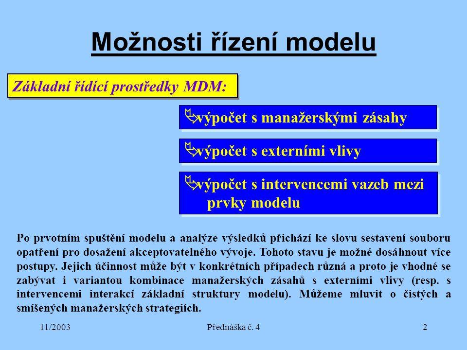 11/2003Přednáška č. 42 Možnosti řízení modelu Základní řídící prostředky MDM:  výpočet s manažerskými zásahy  výpočet s externími vlivy  výpočet s