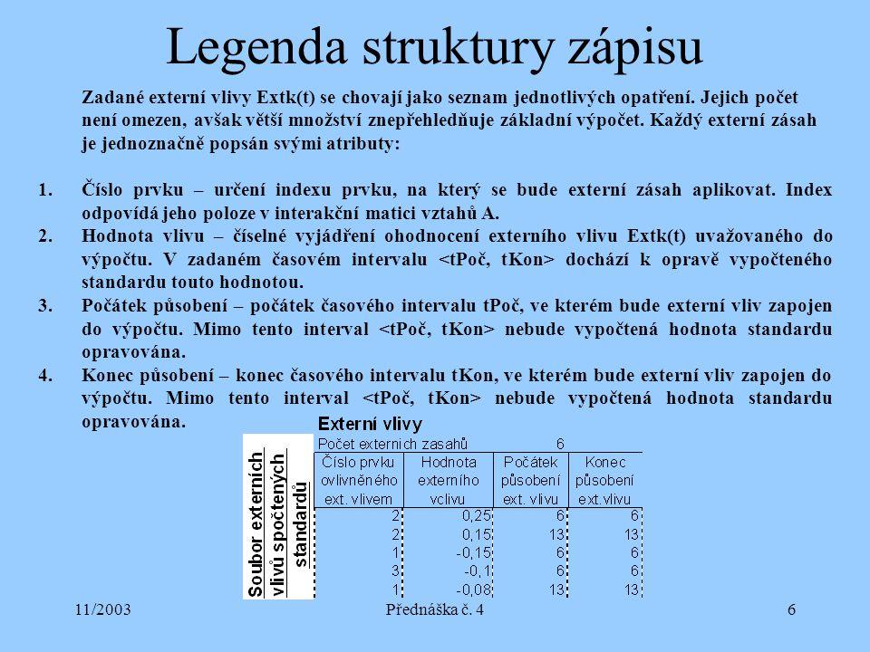 11/2003Přednáška č. 46 Legenda struktury zápisu Zadané externí vlivy Extk(t) se chovají jako seznam jednotlivých opatření. Jejich počet není omezen, a