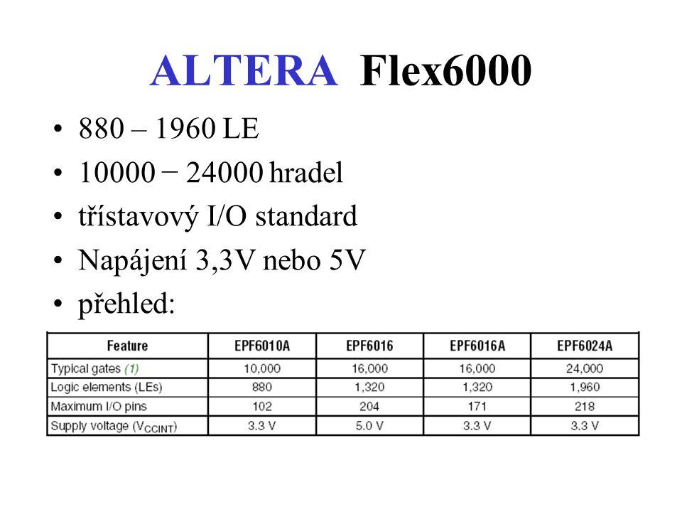 ALTERA Flex6000 880 – 1960 LE 10000 − 24000 hradel třístavový I/O standard Napájení 3,3V nebo 5V přehled: