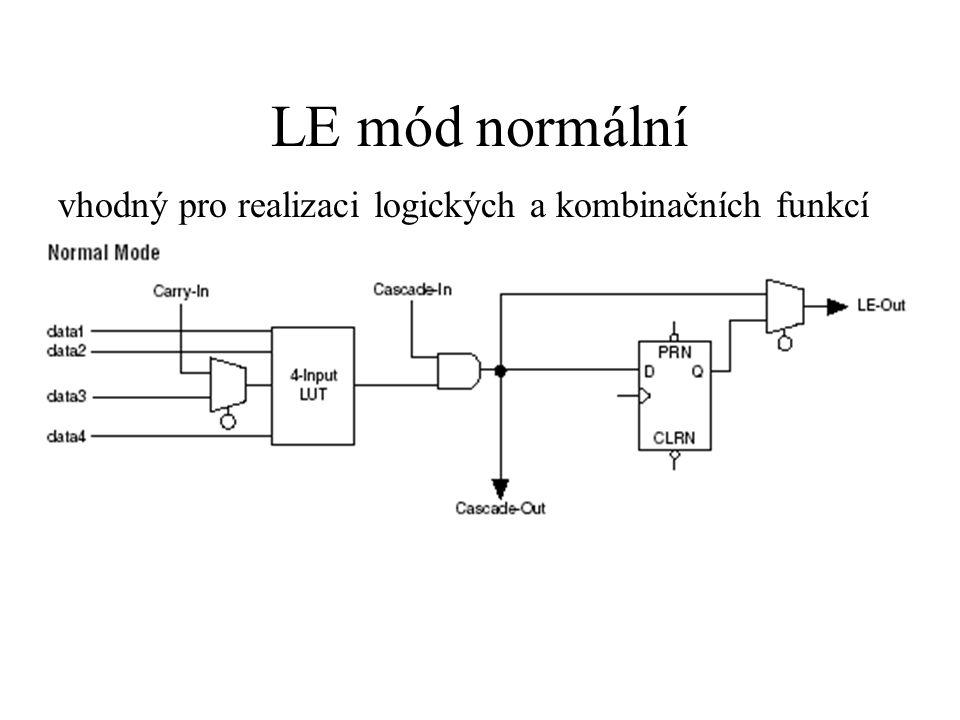 LE mód normální vhodný pro realizaci logických a kombinačních funkcí