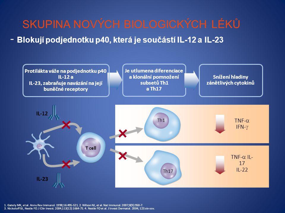SKUPINA NOVÝCH BIOLOGICKÝCH LÉKŮ - Blokují podjednotku p40, která je součástí IL-12 a IL-23 IL-23 IL-12 TNF-  IFN-  TNF-  IL- 17 IL-22 T cell Je utlumena diferenciace a klonální pomnožení subsetů Th1 a Th17 Protilákta váže na podjednotku p40 IL-12 a IL-23, zabraňuje navázání na její buněčné receptory 1.