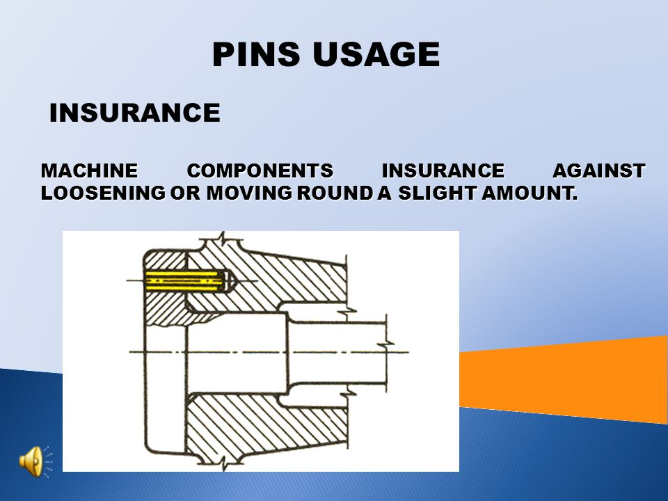 PINS USAGE INSURANCE MACHINE COMPONENTS INSURANCE AGAINST LOOSENING OR MOVING ROUND A SLIGHT AMOUNT.