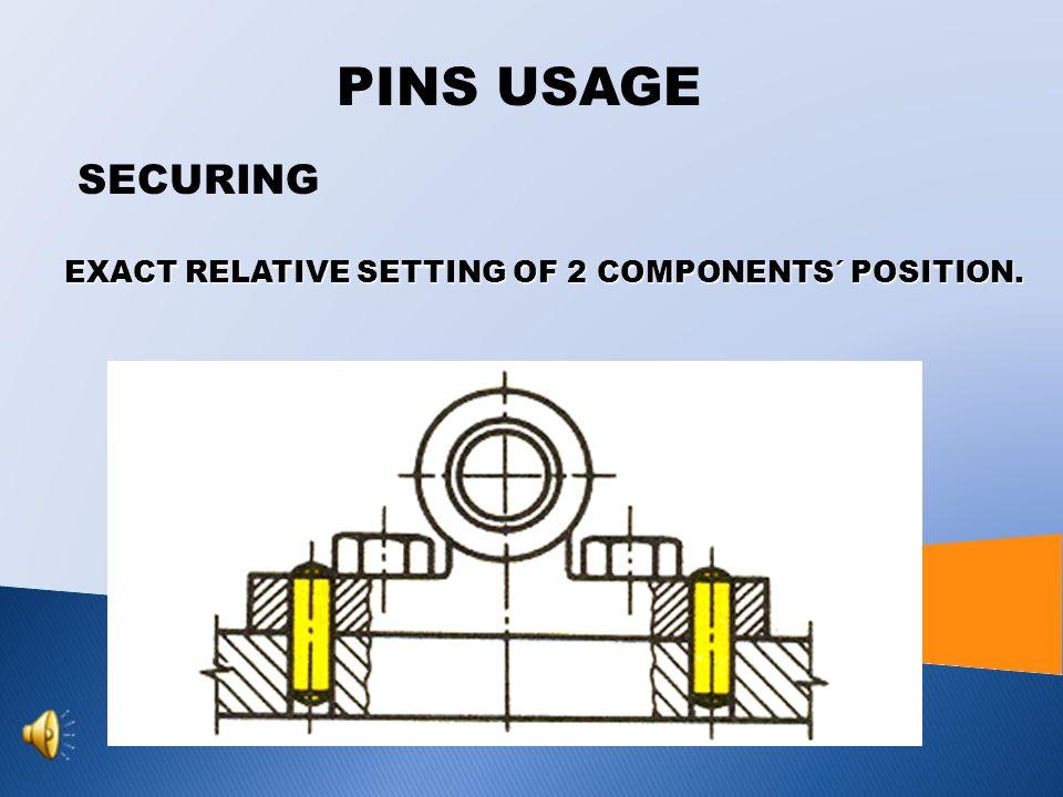 PINS USAGE RETAINING RETAINING OF COMPONENT E.G. SPRING