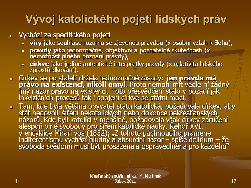 4 Křesťanská sociální etika. M. Martinek Jabok 201117 Vývoj katolického pojetí lidských práv  Vychází ze specifického pojetí  víry jako souhlasu roz