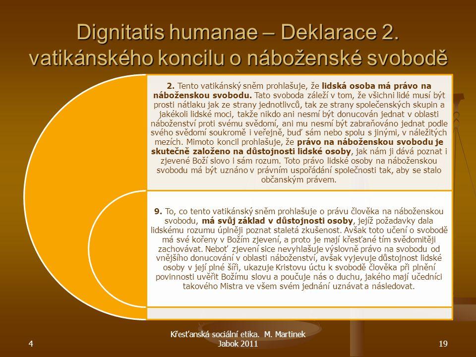 Dignitatis humanae – Deklarace 2. vatikánského koncilu o náboženské svobodě 2. Tento vatikánský sněm prohlašuje, že lidská osoba má právo na nábožensk
