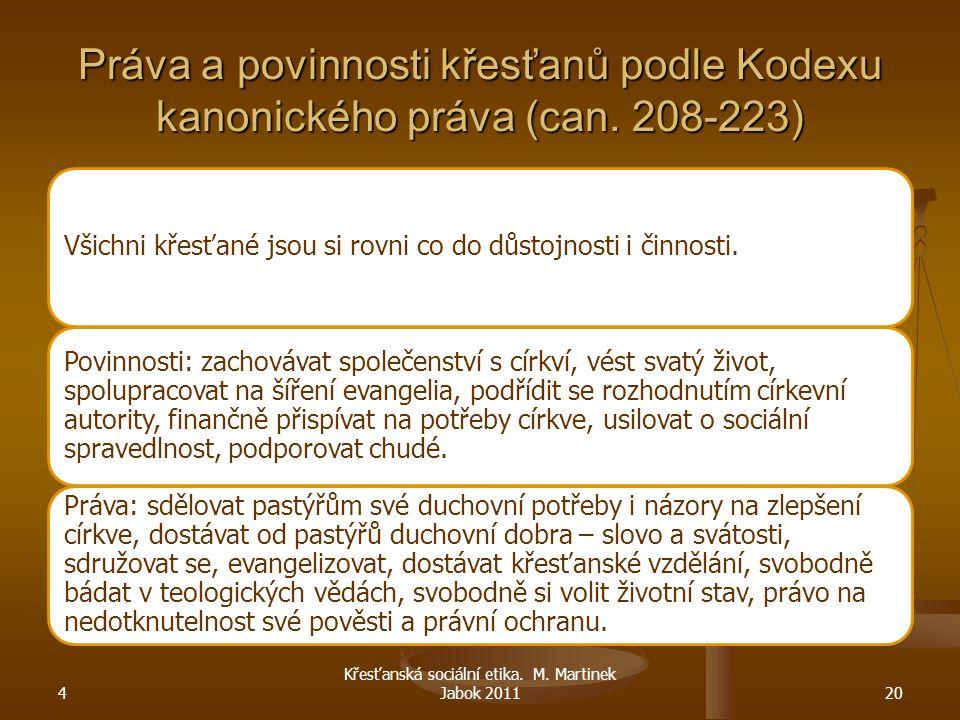 4 Křesťanská sociální etika. M. Martinek Jabok 201120 Práva a povinnosti křesťanů podle Kodexu kanonického práva (can. 208-223) Všichni křesťané jsou