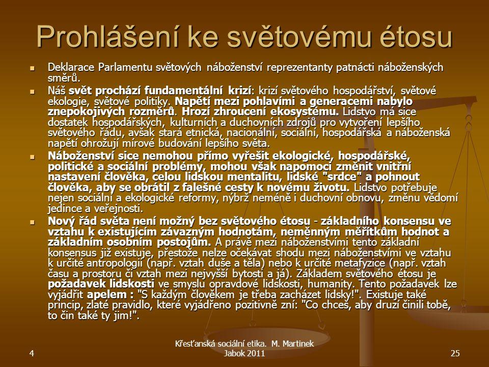 4 Křesťanská sociální etika. M. Martinek Jabok 201125 Prohlášení ke světovému étosu Deklarace Parlamentu světových náboženství reprezentanty patnácti