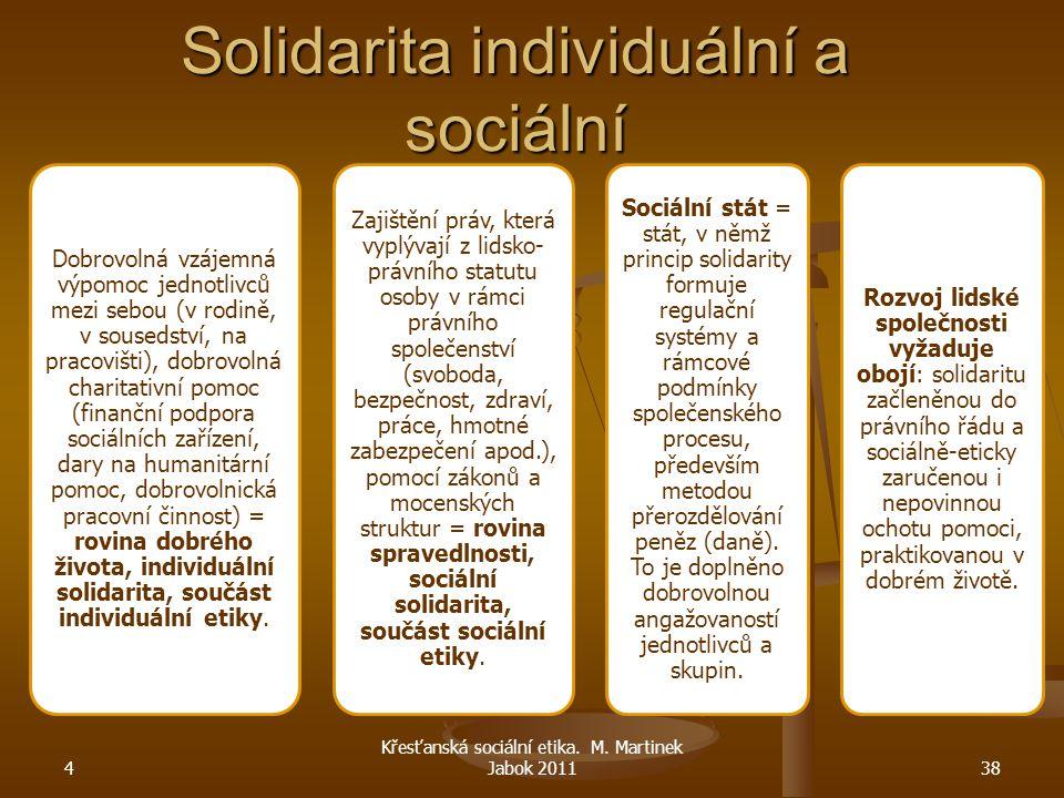 Solidarita individuální a sociální Dobrovolná vzájemná výpomoc jednotlivců mezi sebou (v rodině, v sousedství, na pracovišti), dobrovolná charitativní
