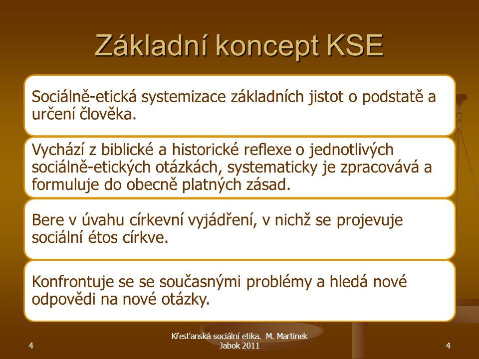 Základní koncept KSE Sociálně-etická systemizace základních jistot o podstatě a určení člověka. Vychází z biblické a historické reflexe o jednotlivých