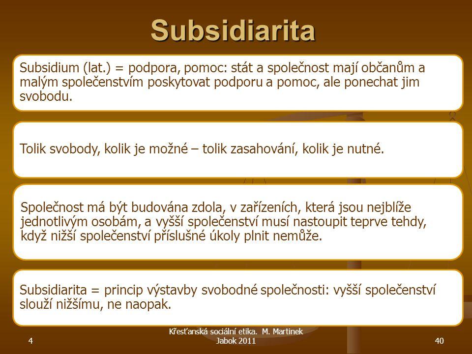 Subsidiarita Subsidium (lat.) = podpora, pomoc: stát a společnost mají občanům a malým společenstvím poskytovat podporu a pomoc, ale ponechat jim svob