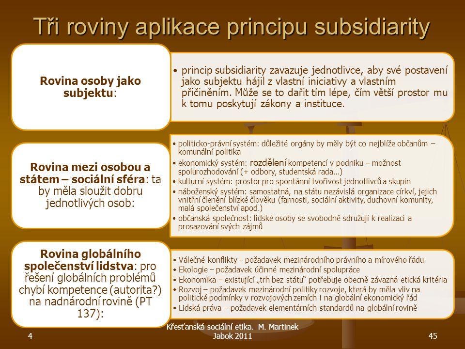 4 Křesťanská sociální etika. M. Martinek Jabok 201145 Tři roviny aplikace principu subsidiarity princip subsidiarity zavazuje jednotlivce, aby své pos