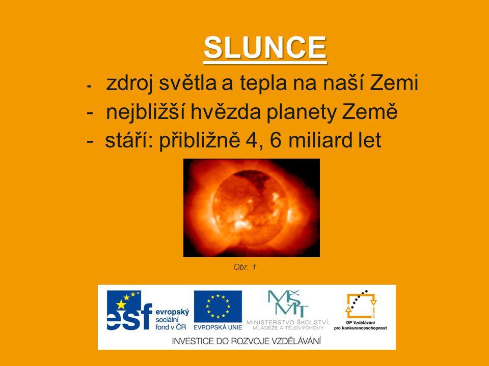 Složení Slunce - přesné složení není dodnes známo - je tvořeno převážně vodíkem a héliem Obr. 2
