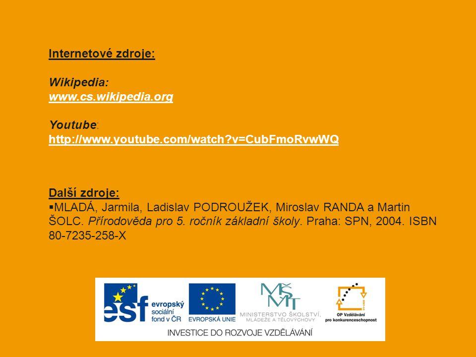 Internetové zdroje: Wikipedia: www.cs.wikipedia.org Youtube: http://www.youtube.com/watch?v=CubFmoRvwWQ Další zdroje:  MLADÁ, Jarmila, Ladislav PODRO