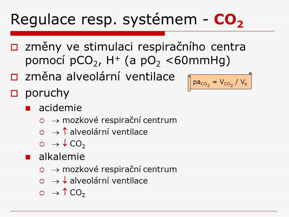 Regulace resp. systémem - CO 2  změny ve stimulaci respiračního centra pomocí pCO 2, H + (a pO 2 <60mmHg)  změna alveolární ventilace  poruchy acid