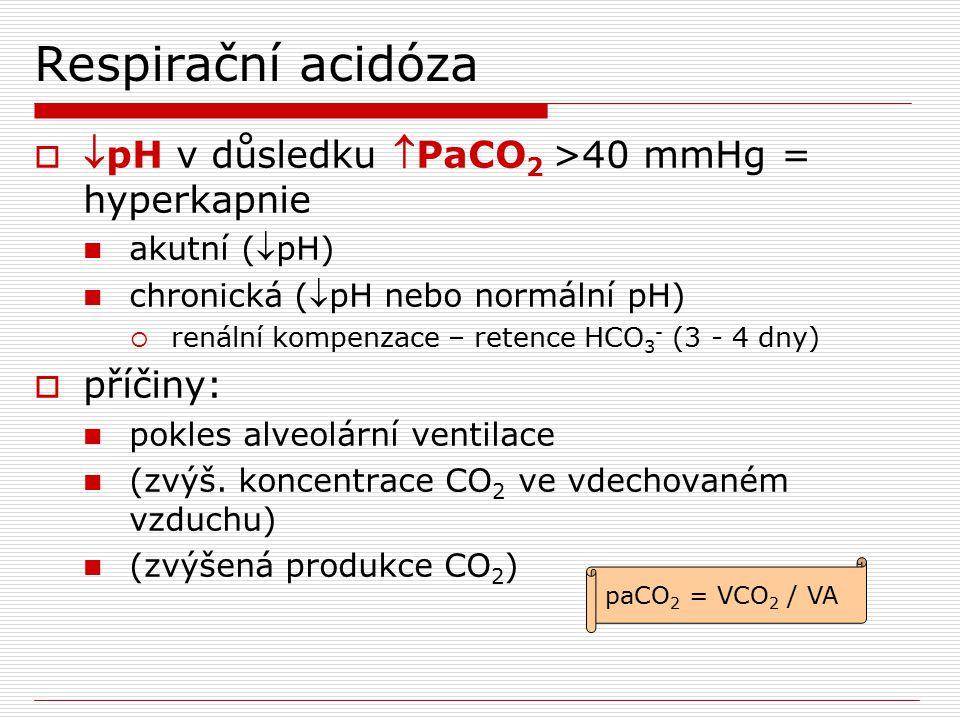 Respirační acidóza  pH v důsledku PaCO 2 >40 mmHg = hyperkapnie akutní (pH) chronická (pH nebo normální pH)  renální kompenzace – retence HCO 3