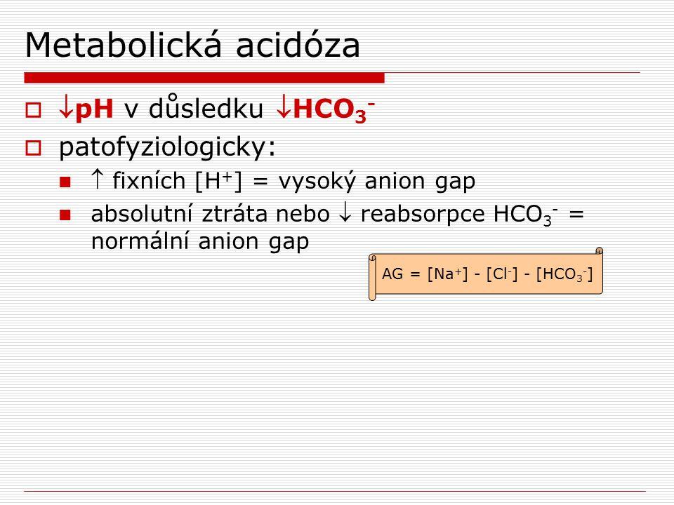 Metabolická acidóza  pH v důsledku HCO 3 -  patofyziologicky:  fixních [H + ] = vysoký anion gap absolutní ztráta nebo  reabsorpce HCO 3 - = nor