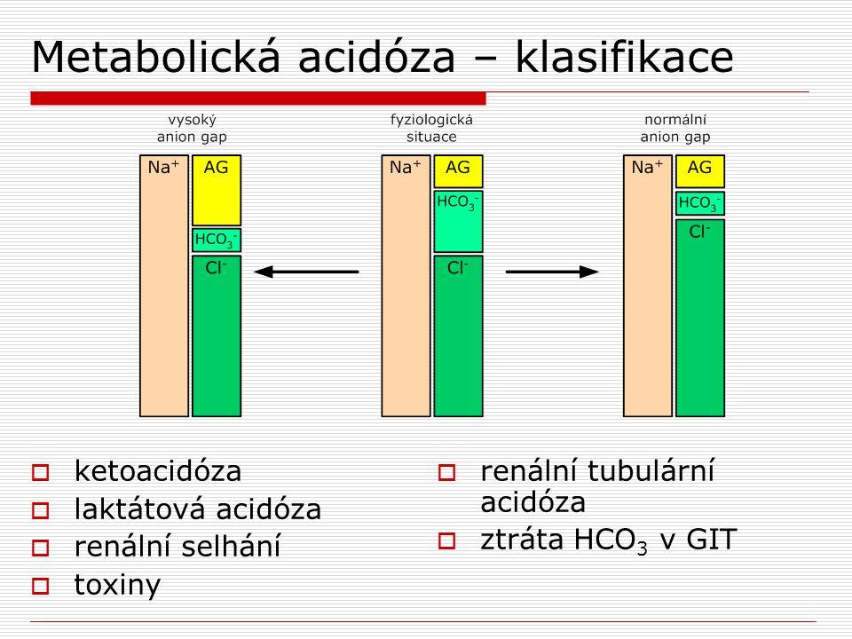 Metabolická acidóza – klasifikace  ketoacidóza  laktátová acidóza  renální selhání  toxiny  renální tubulární acidóza  ztráta HCO 3 v GIT