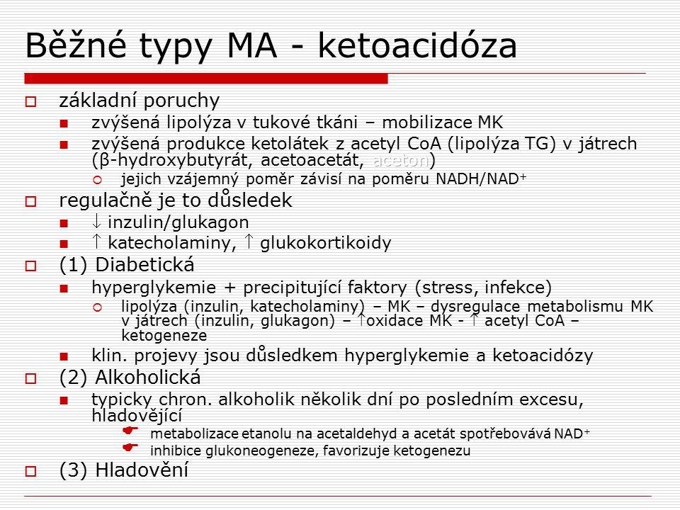 Běžné typy MA - ketoacidóza
