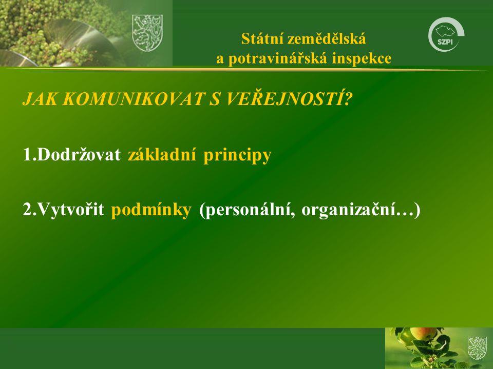 Státní zemědělská a potravinářská inspekce JAK KOMUNIKOVAT S VEŘEJNOSTÍ.
