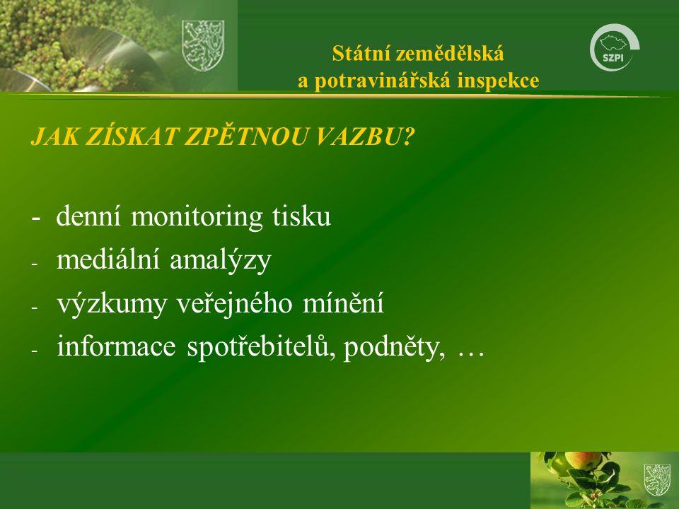 Státní zemědělská a potravinářská inspekce JAK ZÍSKAT ZPĚTNOU VAZBU.
