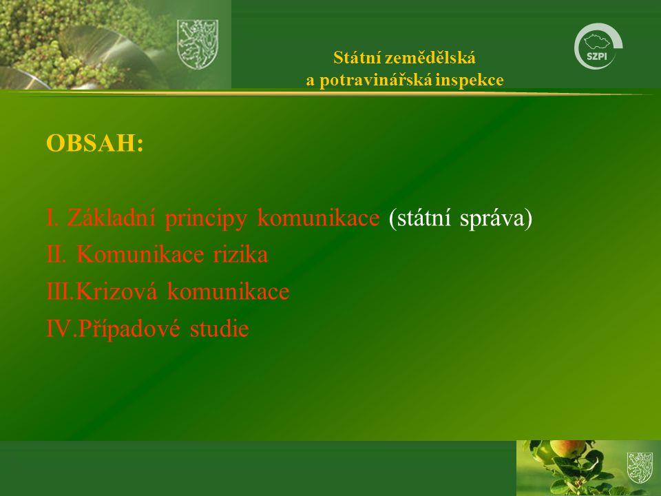 Státní zemědělská a potravinářská inspekce OBSAH: I.