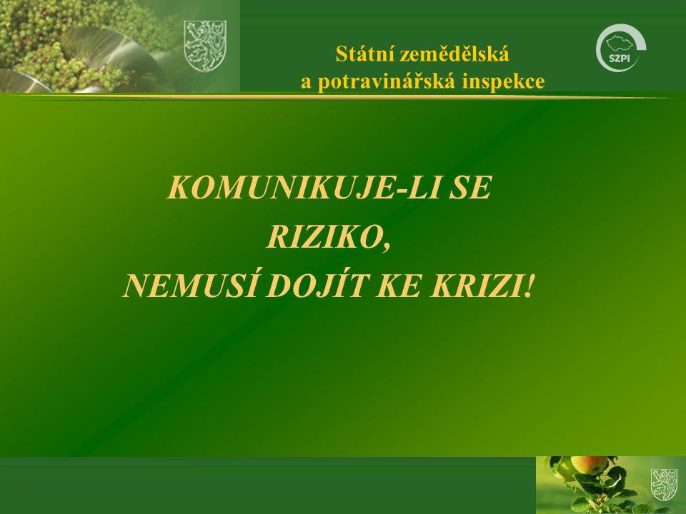 Státní zemědělská a potravinářská inspekce KOMUNIKUJE-LI SE RIZIKO, NEMUSÍ DOJÍT KE KRIZI!