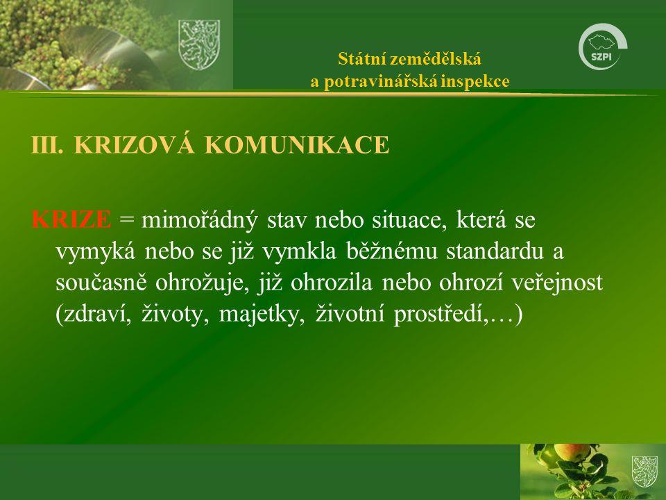 Státní zemědělská a potravinářská inspekce III.