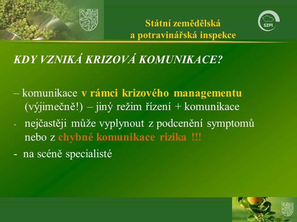 Státní zemědělská a potravinářská inspekce KDY VZNIKÁ KRIZOVÁ KOMUNIKACE.