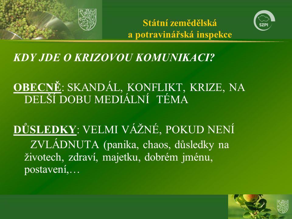 Státní zemědělská a potravinářská inspekce KDY JDE O KRIZOVOU KOMUNIKACI.