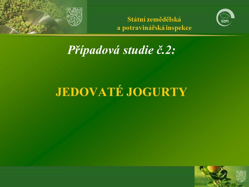 Státní zemědělská a potravinářská inspekce Případová studie č.2: JEDOVATÉ JOGURTY