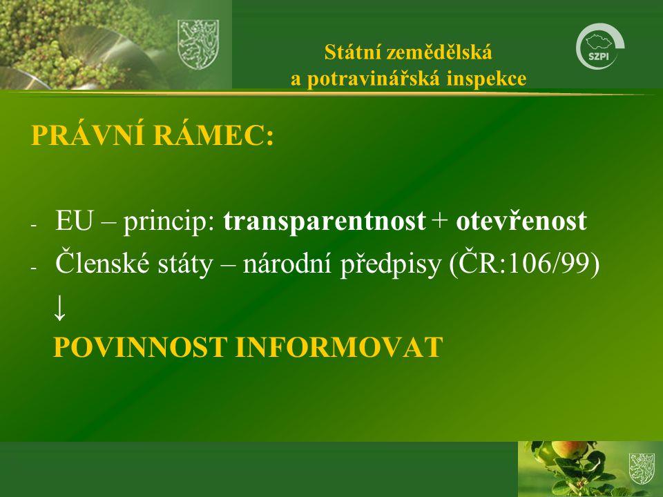 Státní zemědělská a potravinářská inspekce PRÁVNÍ RÁMEC: - EU – princip: transparentnost + otevřenost - Členské státy – národní předpisy (ČR:106/99) ↓ POVINNOST INFORMOVAT