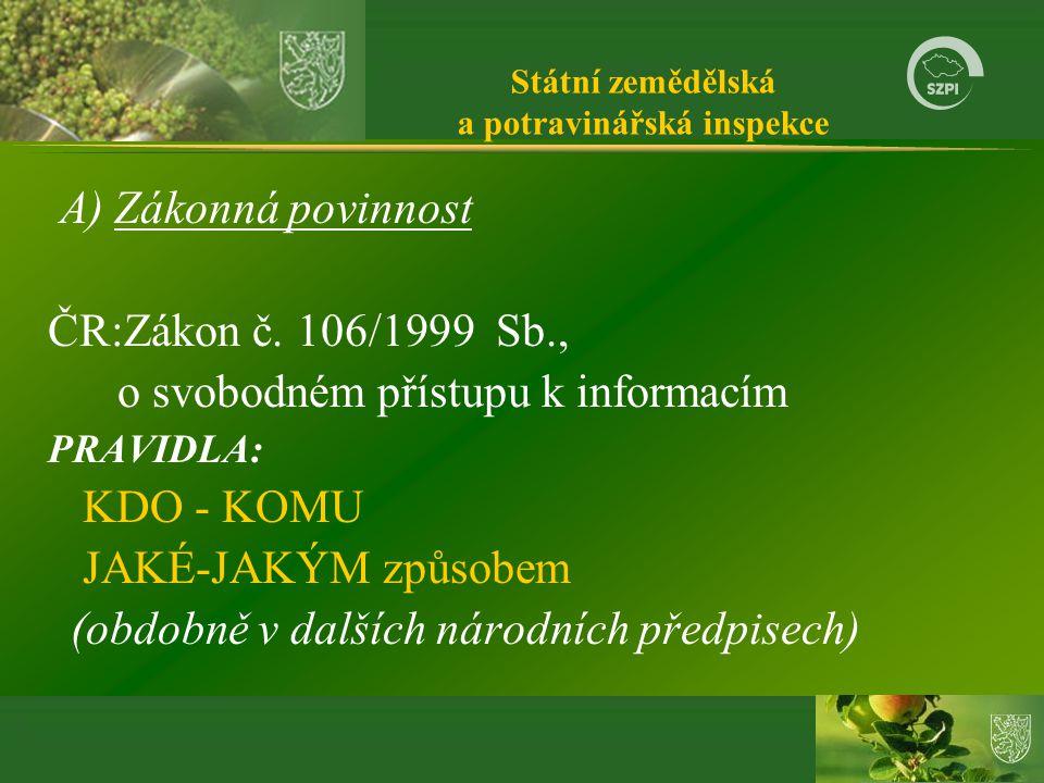 Státní zemědělská a potravinářská inspekce A) Zákonná povinnost ČR:Zákon č.