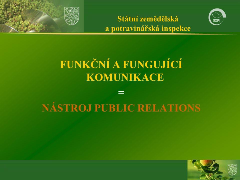 Státní zemědělská a potravinářská inspekce FUNKČNÍ A FUNGUJÍCÍ KOMUNIKACE = NÁSTROJ PUBLIC RELATIONS