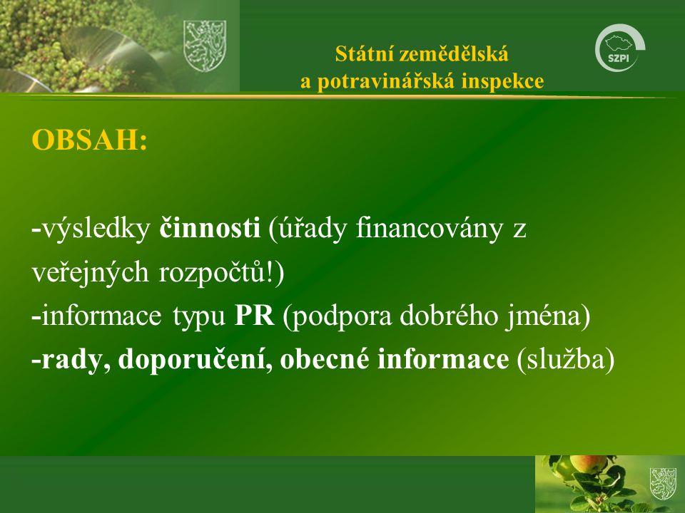 Státní zemědělská a potravinářská inspekce OBSAH: -výsledky činnosti (úřady financovány z veřejných rozpočtů!) -informace typu PR (podpora dobrého jména) -rady, doporučení, obecné informace (služba)