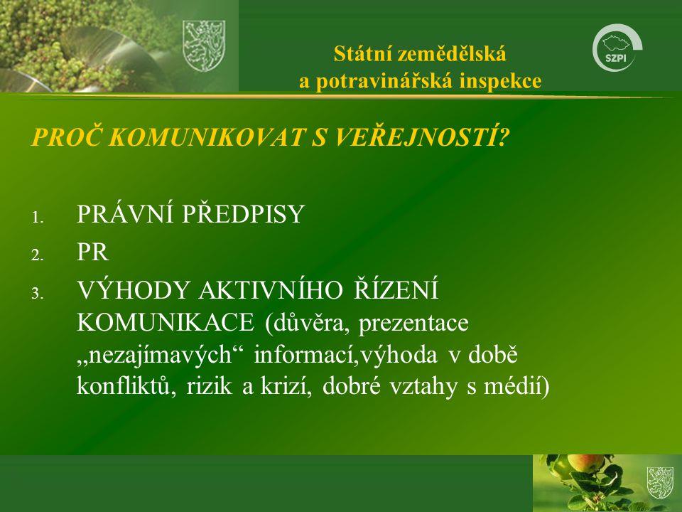 Státní zemědělská a potravinářská inspekce PROČ KOMUNIKOVAT S VEŘEJNOSTÍ.