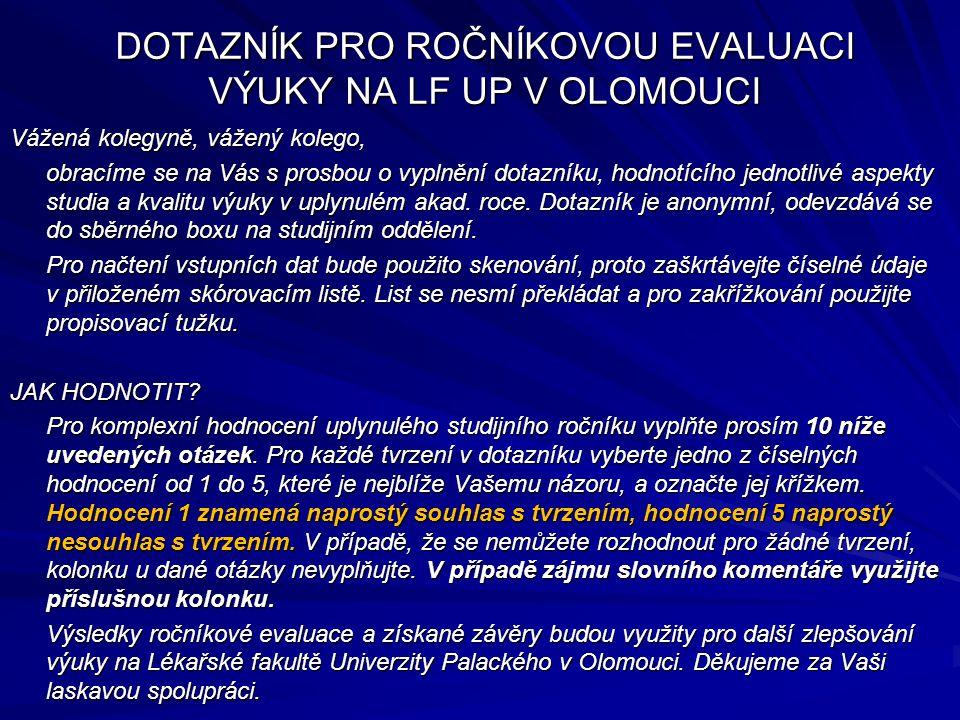Výsledky ročníkové evaluace výuky V.ročník (abs.
