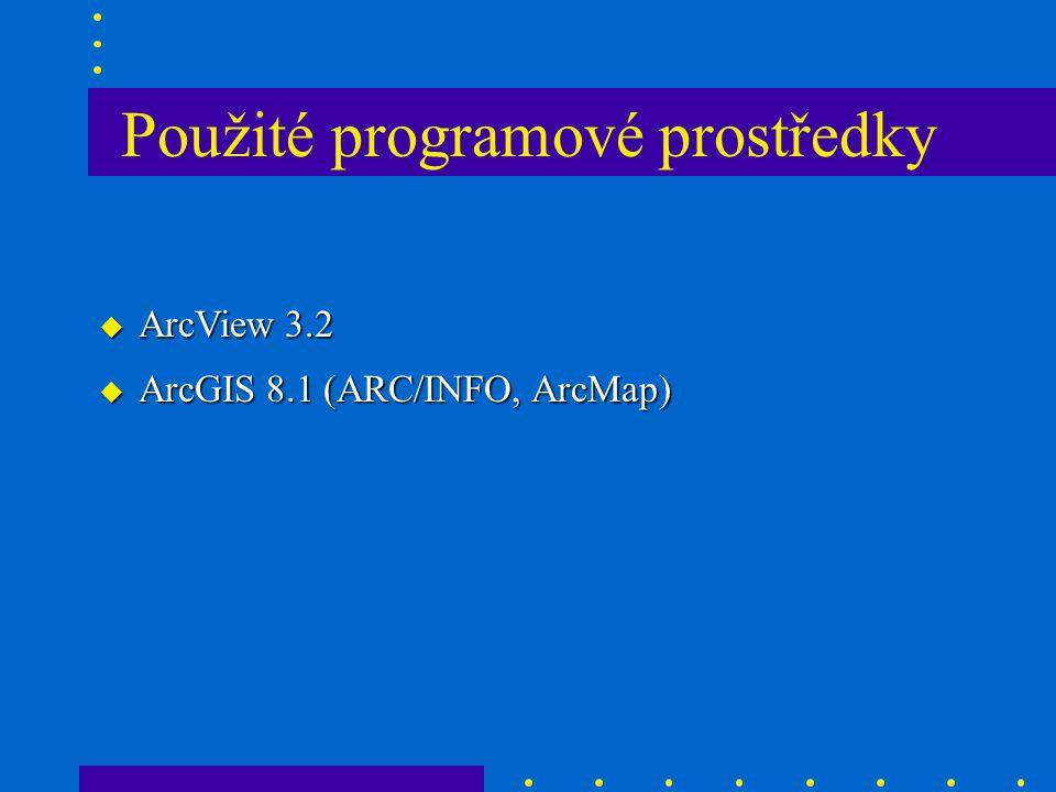 u ArcView 3.2 u ArcGIS 8.1 (ARC/INFO, ArcMap) Použité programové prostředky