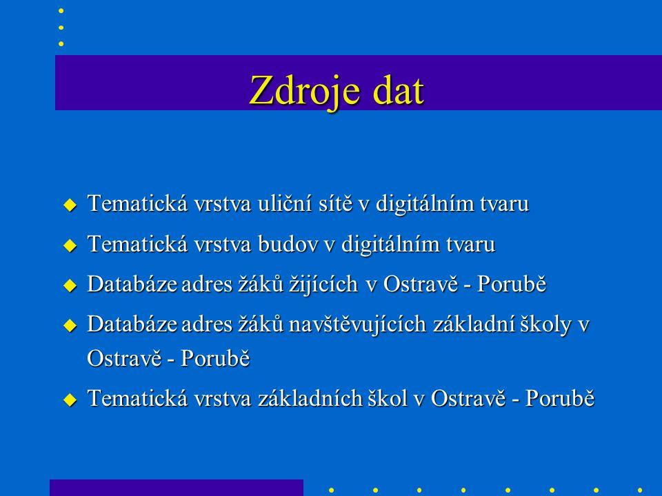 u Tematická vrstva uliční sítě v digitálním tvaru u Tematická vrstva budov v digitálním tvaru u Databáze adres žáků žijících v Ostravě - Porubě u Databáze adres žáků navštěvujících základní školy v Ostravě - Porubě u Tematická vrstva základních škol v Ostravě - Porubě Zdroje dat