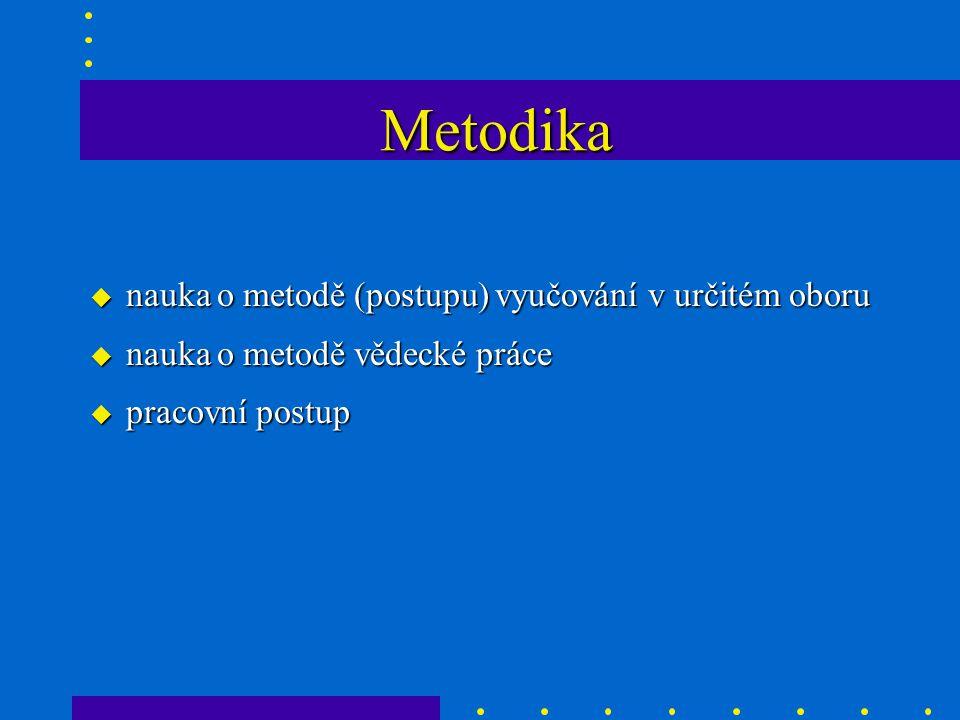 Metodika u nauka o metodě (postupu) vyučování v určitém oboru u nauka o metodě vědecké práce u pracovní postup