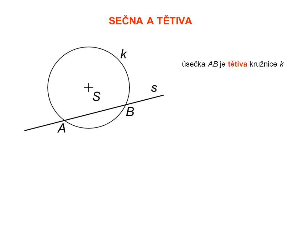SEČNA A TĚTIVA úsečka AB je tětiva kružnice k