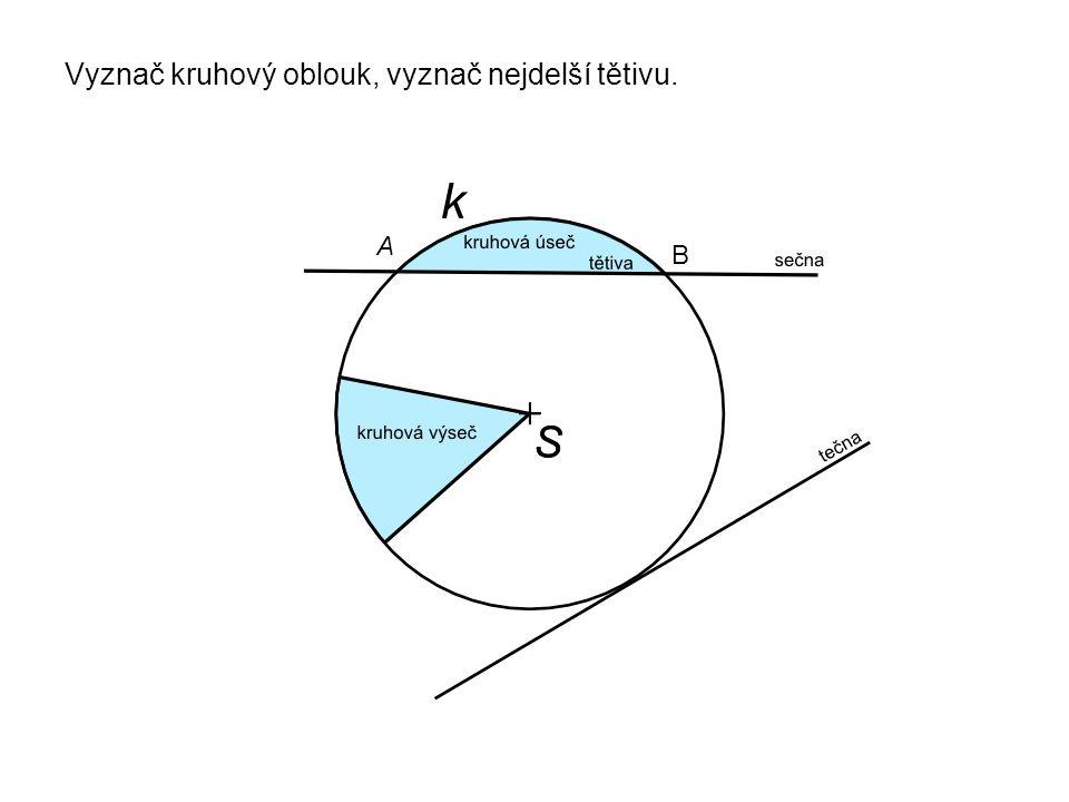 Narýsuj kružnici k a přímku p, aby byla: a) vnější přímkou b) sečnou c) vyznač tětivu p +S+S a) b) +S+S p k k c) +SM N k
