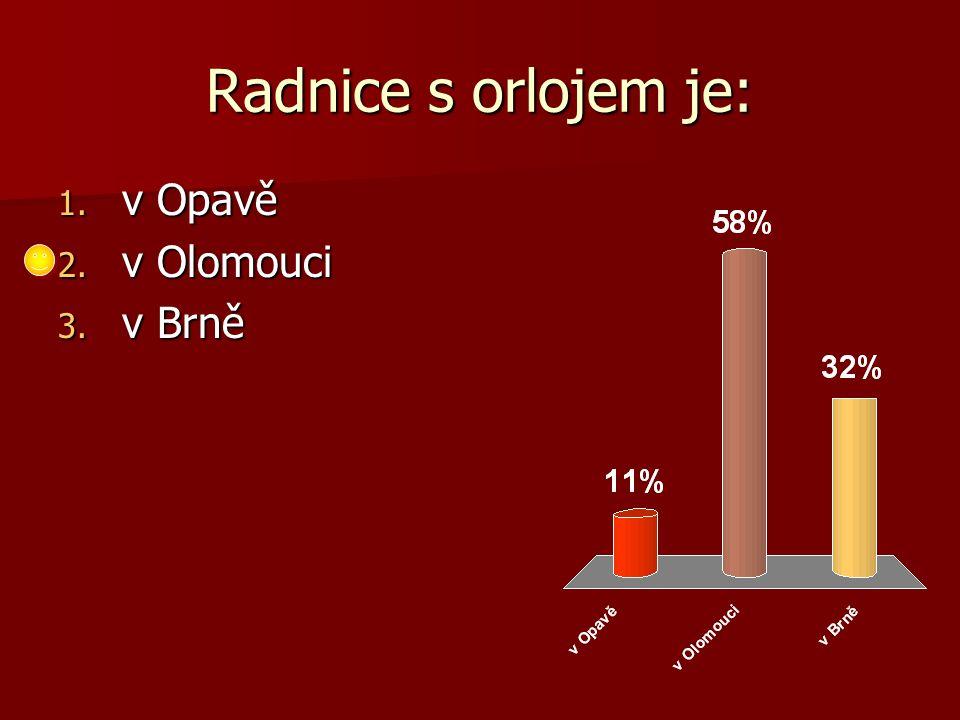 Radnice s orlojem je: 1. v Opavě 2. v Olomouci 3. v Brně